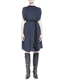 Rope-Trimmed Shift Dress