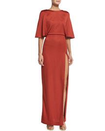 Aphrodite Blouson Open-Back Gown, Terra Cotta