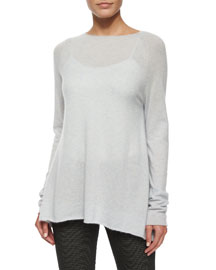 Banny Cashmere-Silk Tissue Sweater, Pale Blue