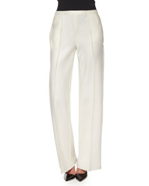 Appel Seamed Wide-Leg Pants, Rose Cream