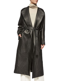 Tuggas Grained Leather Wrap Coat