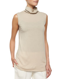 Rion Sleeveless Cashmere-Blend Turtleneck Top
