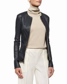Lanasta Round-Neck Leather Zip Jacket, Navy