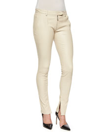 Smashton Stretch Leather Zip Leggings, Rose Cream
