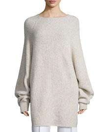 Kandel Oversize Cashmere Sweater, Stone Melange