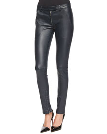 Smashton Stretch Leather Zip Leggings, Navy