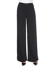 Astrid Leather-Trimmed Wide-Leg Pants