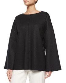 Zadine Bell-Sleeve Knit Top, Black