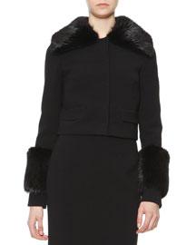 Fur-Trimmed Short Jacket