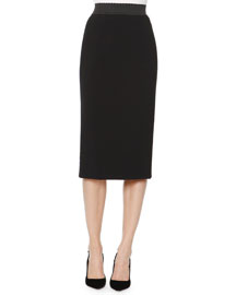Scalloped-Waist Crepe Pencil Skirt