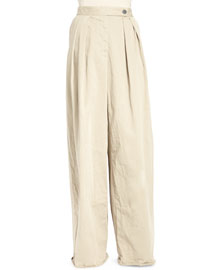 Pamplona Pleated Wide-Leg Cargo Pants