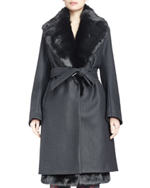 Riviera Rabbit Fur-Trimmed Woven Coat