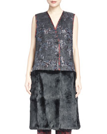 Roat Fur-Contrast Jacquard Combo Vest