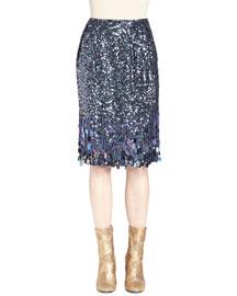 Stord Allover Sequined Fringe Midi Skirt