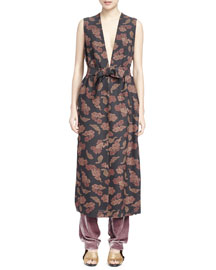 Floral-Print Deep-V Sleeveless Tunic