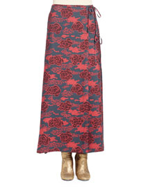 Sliac Floral-Print Reversible Maxi Skirt, Navy/Red