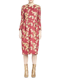 Diori Jacquard-Leaf Midi Dress, Red/Gold