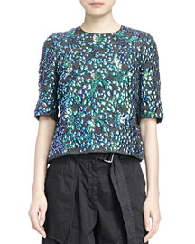 Ciego Beaded Dragon-Embroidered Top, Black