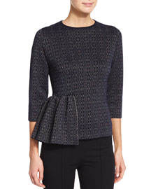 Metallic Jacquard 3/4-Sleeve Peplum Top, Navy