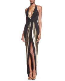 Plunging Halter Brocade Gown, Gold/Black