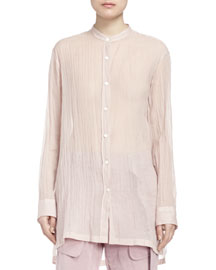Calybe Shimmer Button Blouse, Pale Pink