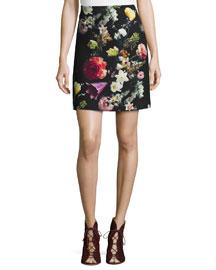 Floral-Print Mini Skirt