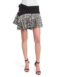 Asymmetric Leopard-Print Plisse Mini Skirt, Black/White