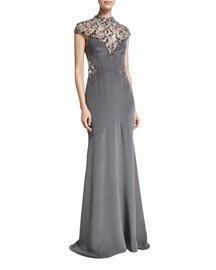 Cap-Sleeve Mock-Neck Beaded Satin Gown, Gray