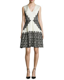 V-Neck Scroll Guipure Lace Dress, Ivory/Black