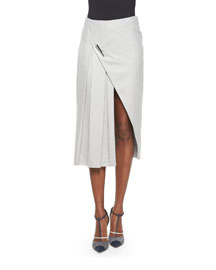 Faux-Wrap Pleated Midi Skirt