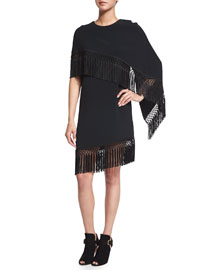 Fringed Crepe Asymmetric Cape Dress, Black