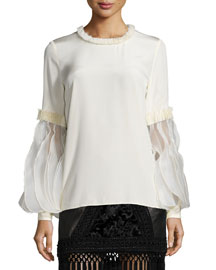 Smocked-Trimmed Ruffle-Sleeve Blouse
