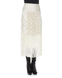 Crocheted Fringe-Trimmed Pencil Skirt, Cream