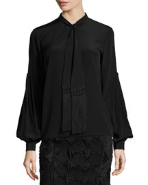 Tassel Tie-Neck Blouse, Black