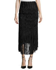 Crocheted Fringe-Trimmed Pencil Skirt, Black