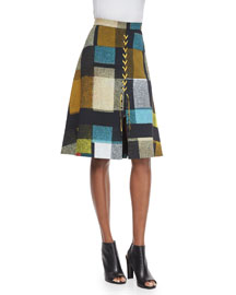Lace-Up Check A-Line Skirt