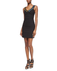 Laced V-Neck Satin Sheath Dress