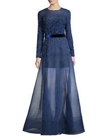 3/4-Sleeve Embellished Cocktail Dress, Black