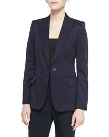 Iris One-Button Wool Blazer, Navy