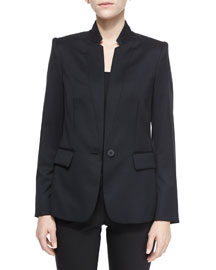 Fleur One-Button Wool Jacket, Black