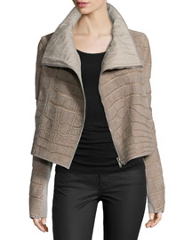 Alligator Biker Jacket, Gray