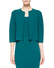 3/4-Sleeve Cropped Stretch-Wool Jacket, Peacock
