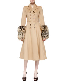 Double-Breasted Princess Coat W/Fox Fur Cuffs, Fawn