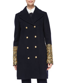Bouillonne-Cuff Double-Breasted Coat, Navy