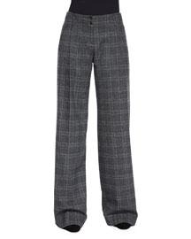 Wide-Leg Pleated Pants, Slate Multi