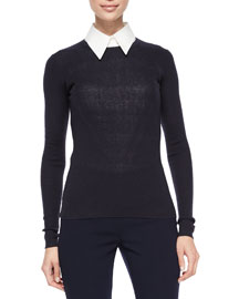 Long-Sleeve Ribbed Cashmere Sweater, Navy
