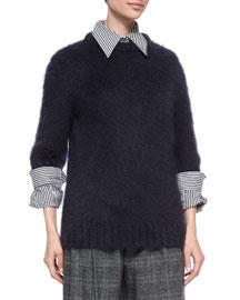 Mohair-Blend Half-Sleeve Sweater, Navy