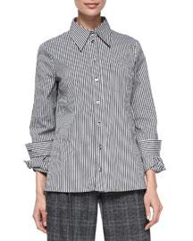 Stripe Button-Front Shirt, Black/Optic White