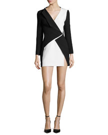 Bicolor Asymmetric Long-Sleeve Mini Dress, Black/White