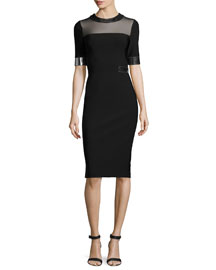 Metallic-Trim Half-Sleeve Cady Dress, Black